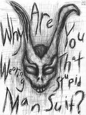 "Donnie Darko Frank the Rabbit  8.5"" x 11"" ink drawing horror"