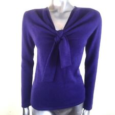 Belinda Robertson 100% Cashmere Jumper Sweater Purple Front Knot Tie Size Small