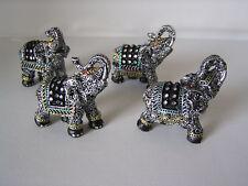 4 Stück Deko-Elefant klein mit Glitzersteinen, ca, 6,5 - 7 cm hoch, Elefant