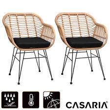 2er Set Korbsessel Gartenstühle Esszimmerstühle Poly Rattan Loungesessel Outdoor