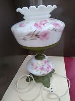 Vintage Hurricane Lamp Pink Flowers electrified brass painted green