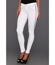 NWT Textile Elizabeth & James Cohen in White Navy Stripe Skinny Jean 24 $187