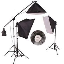New Studio Photo Continuous Soft Box Lighting Kit Boom Arm Light Pack UK