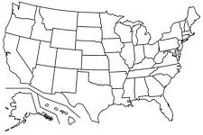 BLANK UNITED STATES MAP GLOSSY POSTER PICTURE PHOTO america usa cool 2140