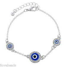 Women Silver Tone Clear Rhinestone Enamel Evil Eye Bracelet Fashion Jewelry Gift