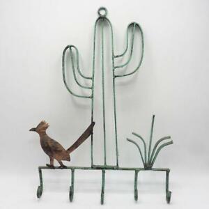 Vtg Southwestern Cactus Roadrunner Hanging Rack Decor