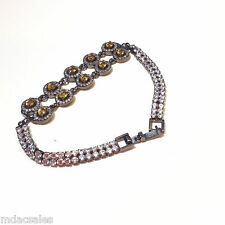 """NEW! 7"""" Sterling Silver Rhodium Plated Bracelet w/Yellow Natural Sapphires"""