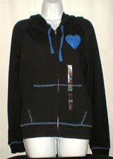 Victoria's Secret PINK full zip Pouch pocket Black Blue HOODIE XS NWT