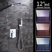 "New LED 8"" Slim Thin Shower Head Handheld Bathroom Mixer Tap Faucet Set Rainfall"