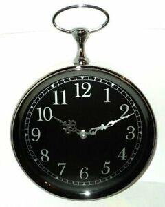 Chrome Black Dial Round Gun Metal Analogue Clock