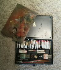 Early Vintage Black Metal Rowney paint box with contents.