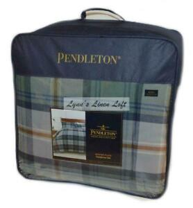 PENDLETON Mosier Plaid KING COMFORTER SHAMS 3PC SET NEW Shale Green Blue