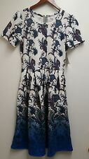 LuLaRoe Amelia Dress M Medium Blue White Ombre Paisley Floral HTF MEGA UNICORN!