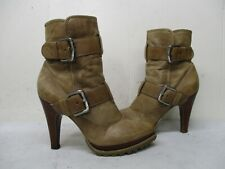 Jessica Simpson Light Brown Leather High Heel Zip Ankle Boots Womens Size 6 B