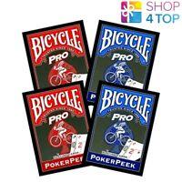 4 DECKS BICYCLE PRO POKER PEEK INDEX SPIELKARTEN ZAUBERTRICKS BLAU UND ROT NEU