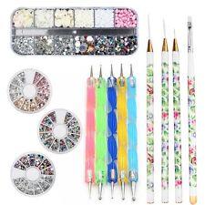 Nail Art Accessories Starter Kits DIY Tools Rhinestone Dotting Pens Brush New