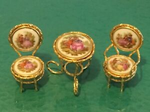 Jean Feuillade Limoges France 3 pc Miniature Dollhouse Furniture Table & Chairs