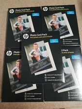 5X HP Glossy Photo Card Pack, 10-5 x 7 Sheets/Envelopes, 5-4 x 6, Factory Sealed