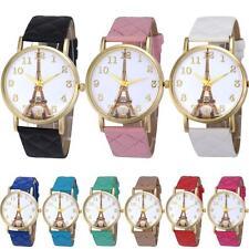 Womens Paris Eiffel Tower Pattern Faux Leather Analog Quartz Wrist Watch Stylish