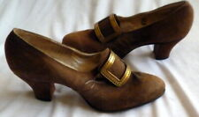 Vintage 1920s Brown Suede Shoes Heels with Gold Buckes Size 5 1/2