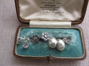 4 pairs Art Nouveau style real silver stud earrings jewel detail/marcasite