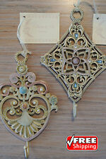 """COLLETTE ET CIE Decorative Ornate HEAVY Wall Hooks 7""""×4.5"""" each [SET of 2] *NWT*"""