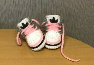 HANDMADE CROCHET BABY FIRST SHOES WOOL CASUAL BABY BOOTS SLIPPERS TRAINERS