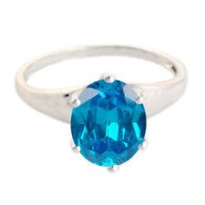 1,30 Karat Ovale Form 585er Weißgold natürlichen blauen Topas Verlobungs ring