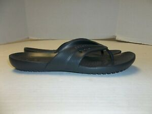 Womens Size 9 Crocs Black Flip Flop Sandals