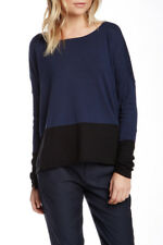 Vince Colorblock Boatneck Sweater Blue Black Cotton Knit Pullover Size S