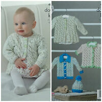 KNITTING PATTERN Baby's Lacy Cardigans Hat and Jacket Smarty DK King Cole 4887