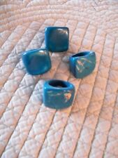 TAGUA STUNNING TEAL RINGS ORGANIC NATURAL IVORY(4) SIZES 5-6 made in  ECUADOR