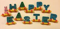 """Vintage Easter Bunny """"Happy Easter"""" ABCs Plastic Toy Train China Rare!"""