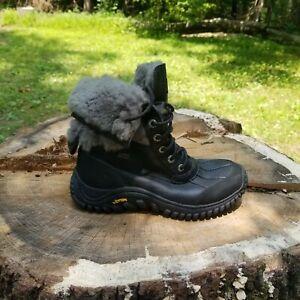 Women's UGG 1906 Adirondack Black Leather Winter Waterproof Duck Boot Sz 8