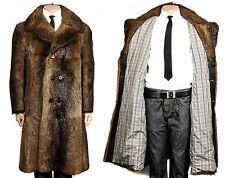 M L UOMO VINTAGE CAPPOTTO UOMO cappotto di pelliccia Castorino Mens Fur trench coat cappotto