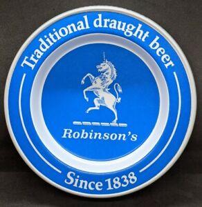 """Robinson's Traditional Draught Beer Melamine Barware Tray Ashtray England 7.5"""""""