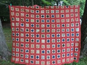 GREAT LOOKING ANTIQUE QUILT TOP~COLORFUL FABRICS~RED~70 x 80