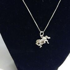 Sterling Silver Horse Pendant Necklace  5.9g 17Inch Chain.