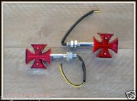 [X4 pcs] 2 pairs of flashing LED Croix De Malte - NEW (custom motorcycle trike)