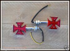 [X4 pcs] 2 pairs of flashing LED Croix De Malte - NEW (custom motorcycle trike)