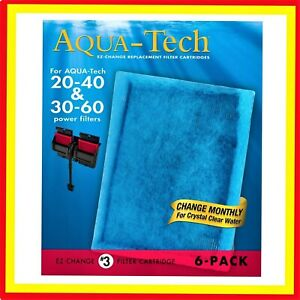 6 PACK Aqua-Tech EZ 20-40 30-60 Water Fish Tank-Change Aquarium Filter Cartridge