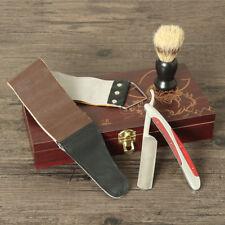 Rasiermesser Set Herren Rasierer Messer+ Leder Streichriemen+ Rasierpins+Holzbox