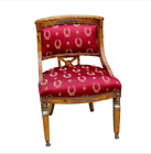 RARE Antique French Empire Neoclassical Olive Burl Wood Bronze Chair Egypt