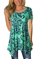 Womens Crew Neck Boho Floral Print  Short Sleeve Tunic Top Size 6-22
