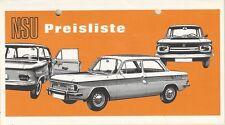 ✇ ORIGINALE LISTINO PREZZI PRICE LIST NSU PRINZ TT TTS SPIDER da 09/1968
