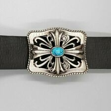 Gothic Cross Turquoise Belt Buckle Ladies Mens Gift Gaelic Celtic Norse