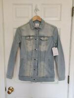 NWT Lularoe Jaxon Denim Jacket Light Wash Long Jean Metal Buttons Size XS