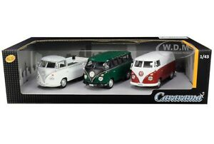 VOLKSWAGEN BUSES 3 PIECE GIFT SET 1/43 DIECAST MODEL CARS BY CARARAMA 35308