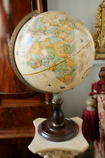 More details for a fine 12 inch replogle rased relief globe, turned wooden stand, donovan/dzurny