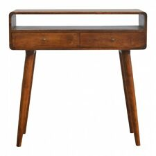 New : ARTISAN Range : Solid Wood : Open Slot Curved Console Table